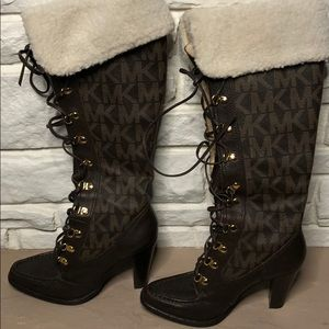 Michael Kors Brown Leather Monogram  Lace Up Boots